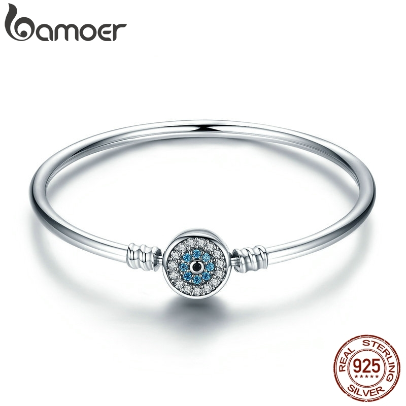 BAMOER High Quality Authentic 925 Sterling Silver Blue Eyes Clear CZ Snake Chain Heart Bangle & Bracelet Luxury Jewelry SCB012(China)