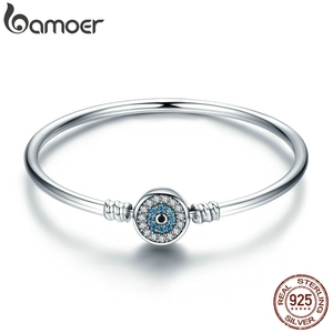 Image 1 - BAMOER High Quality Authentic 925 Sterling Silver Blue Eyes Clear CZ Snake Chain Heart Bangle & Bracelet Luxury Jewelry SCB012