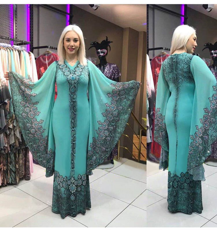 2019 New Sexy Fashion Style Summer V-neck African Women Printing Plus Size Long Dress