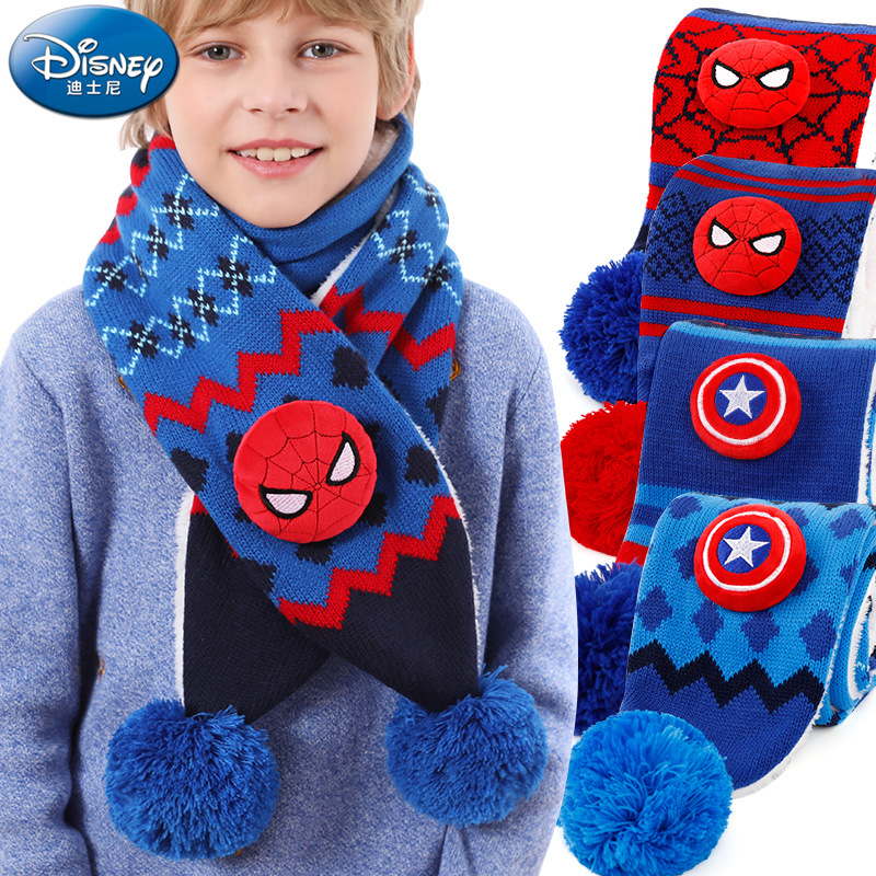 Disney Marvel Avengers Children's Scarves Scarf Autumn and Winter Boys Spider-Man Winter Plus Thick Velvet Baby Warm Wind Scarf