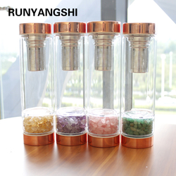 Natural Crystal Elixir Bottles gemstone Glass therapy stone Tea filter filter bottle Healing Crystal Infuser Energy cup