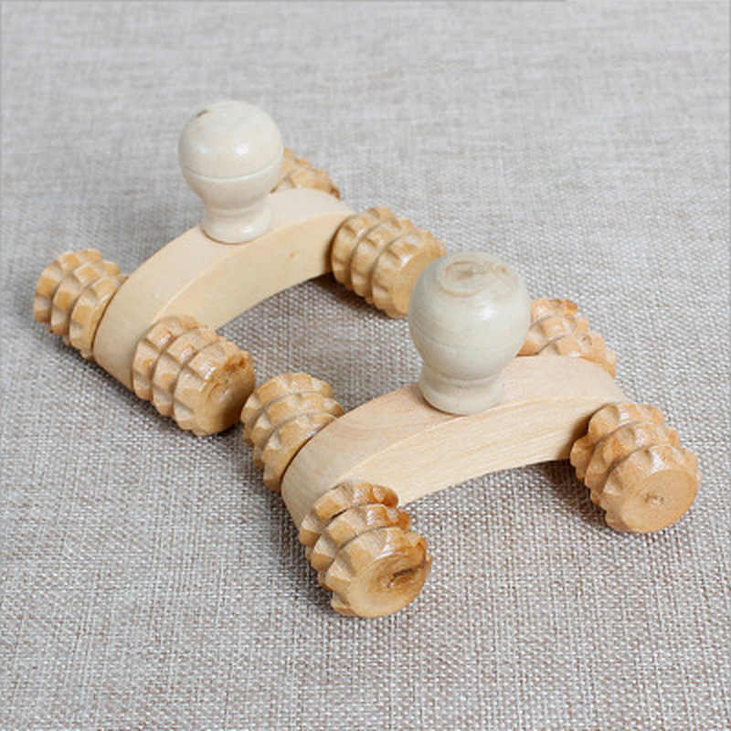 Massief Houten Full-Body 4 Wielen Houten Auto Roller Ontspannen Hand Massage Tool Reflexologie Gezicht Hand Voet Back Body therapie Massage