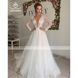 Image 4 - Vintage Long Sleeve Wedding Dress 2020 Appliques Lace A Line Princess Bridal Gown Tulle Illusion Swanskirt I204 Vestido de Noiva