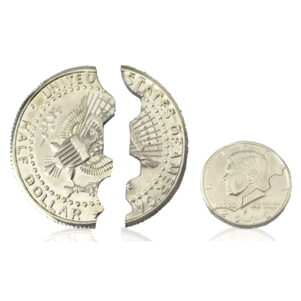 Magic Bite Out Quarter Trick Close-Up Coin Magic Illusion Restored Half Dollar