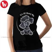 T-Shirt pudel czarny zabawkowy pudel IAAM T-Shirt z dopasowaną koszulką O Neck Print koszulka damska czarna koszulka damska