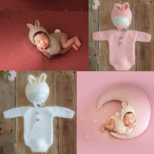 Newborn Outfit Romper  Newborn Photography Props Wool Knitted  Rabbit Jumpsuit Hat Bodysuits Outfit Baby Photography