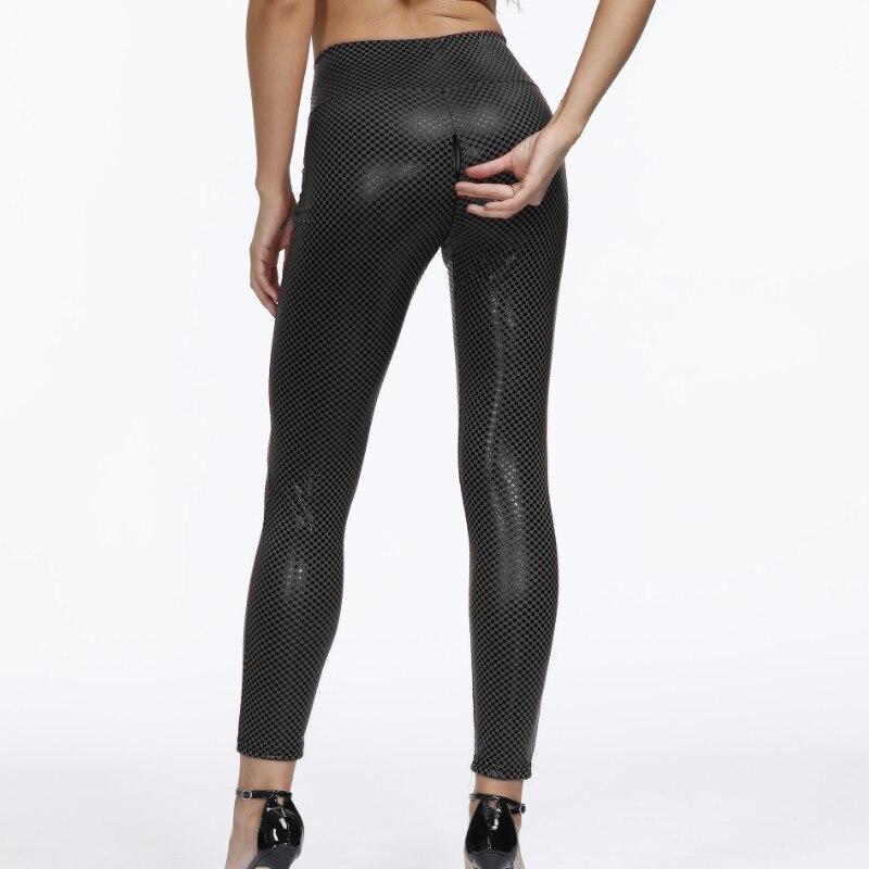 Пикантные женские летние брюки из искусственной кожи, на молнии, с открытым шаговым швом, брюки с высокой талией, женские блестящие эластичн...