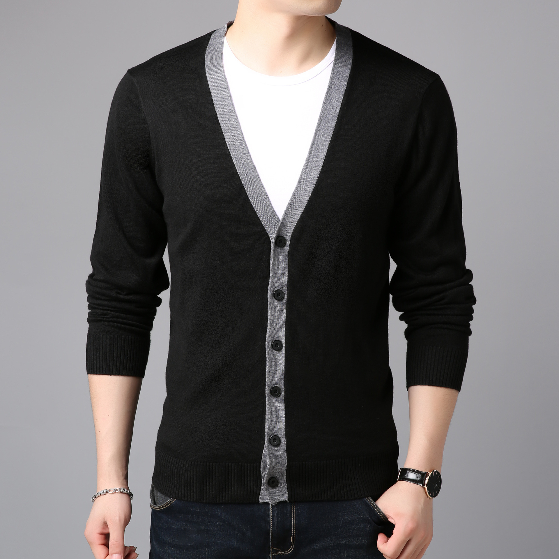 BO 2019 New Men Fall Thin Section Of Sweater Knitting Cardigan Leisure Long-sleeved Youth Cultivate One's Morality