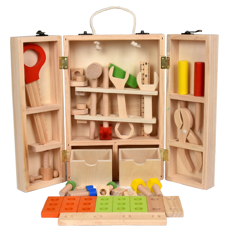 Wooden <font><b>Tool</b></font> <font><b>Toys</b></font> Pretend Play Toolbox Accessories Set Educational Construction Multifunctional Repair <font><b>Tool</b></font> <font><b>Toys</b></font> Kids Gifts image