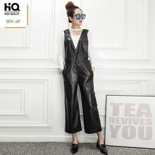 Hohe Qualität Luxus Frauen Overall Fashion Solid Schaffell Lange Overalls Weibliche Slim Fit Ärmellose Hohe Taille Overall M-3XL(China)