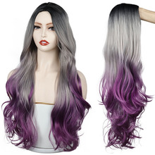 Long Gray purple Golden Ombre Synthetic Wigs Natural Part Side Wavy Heat Resistant Hair Cosplay Daily Wig for White Black Women cosplay synthetic long fluffy purple gradient side bang wavy wig
