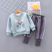 Velvet Baby Kid Clothes Set for a Boy Cute Outwear Girls Cat O neck Top + Harem Pants Child Outfit Fashion Infant Clothes