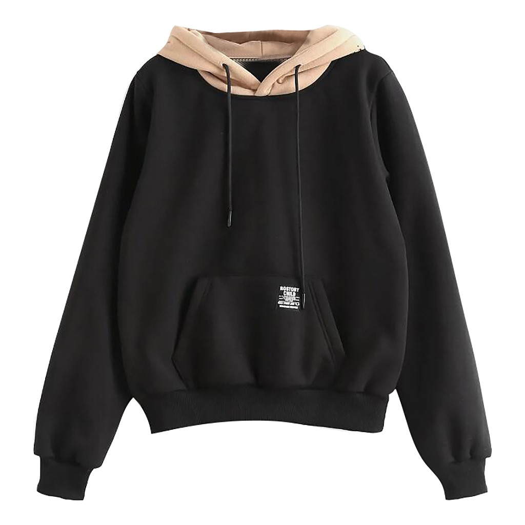 2019 New Women Hoodies Sweatshirts Women Long Sleeve Pocket Patchwork Pullover Strappy Hoodie Sweatshirt Blouse Top