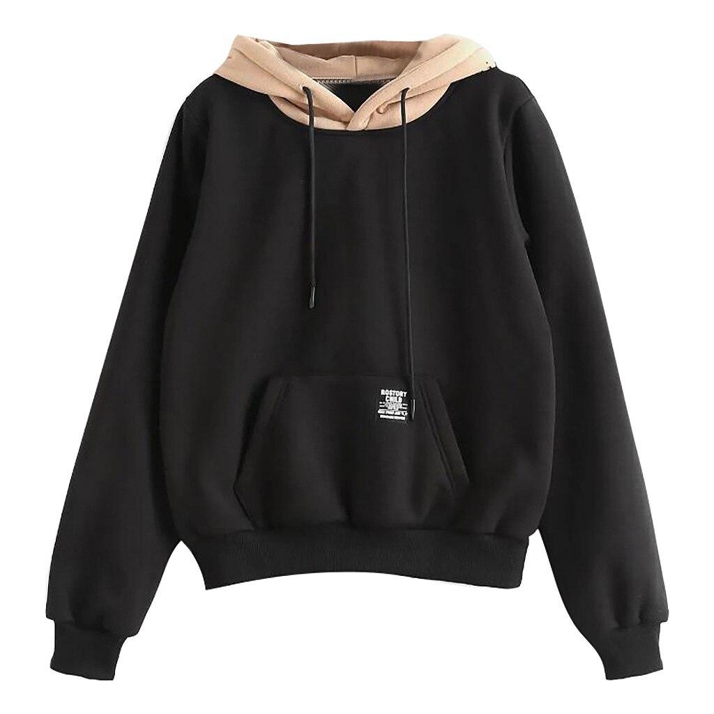 2019 New Women Hoodies Sweatshirts Women Long Sleeve Pocket Patchwork Pullover Strappy Hoodie Sweatshirt Blouse Top