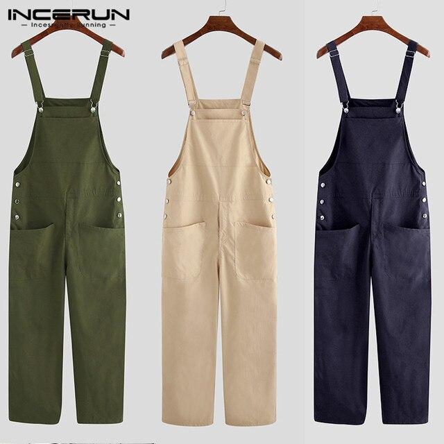 INCERUN Fashion Men Bib Pants Solid Color Jumpsuits Joggers Streetwear Casual Multi Pockets Suspenders Cargo Overalls Men Romper 5