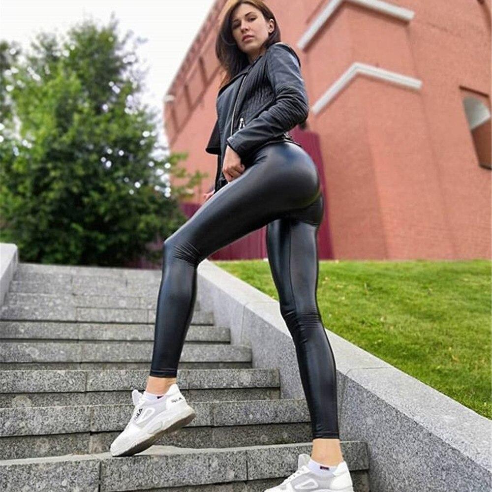 Leather High Waist Leggings Elasticity Skinny Leggins Thin Pants Women Sexy Leggings Plus Size Leggins Pants Women Leggings