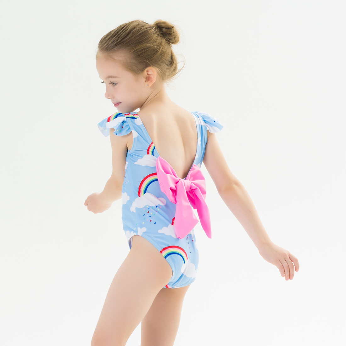 Fashion Baby Infant Little Girl Swimwear One Piece Hot Pink Solid Swimsuits