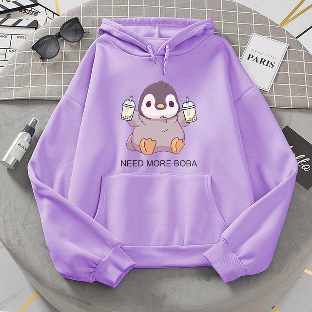 Cute Penguin Boba Tea Hooded Sweatshirt Harajuku Hoodies Lovely Kawaii Casual Hoody O-Neck Women's Hoodie 5