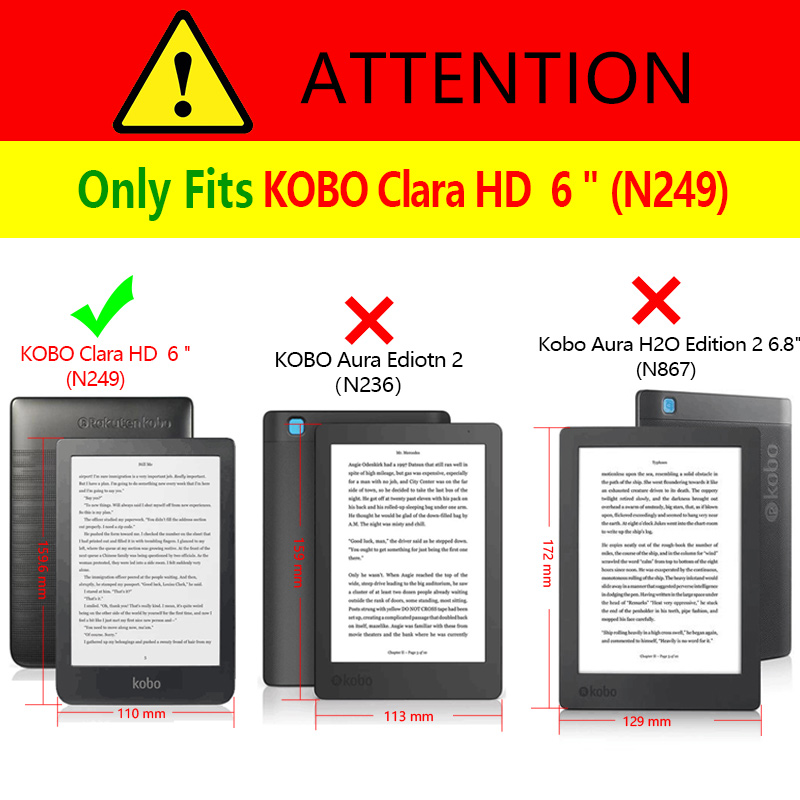 Тонкий чехол для электронной книги Kobo Clear HD 6 дюймов N249, умный защитный чехол, чехол из искусственной кожи с функцией автоматического сна/пробуждения-4