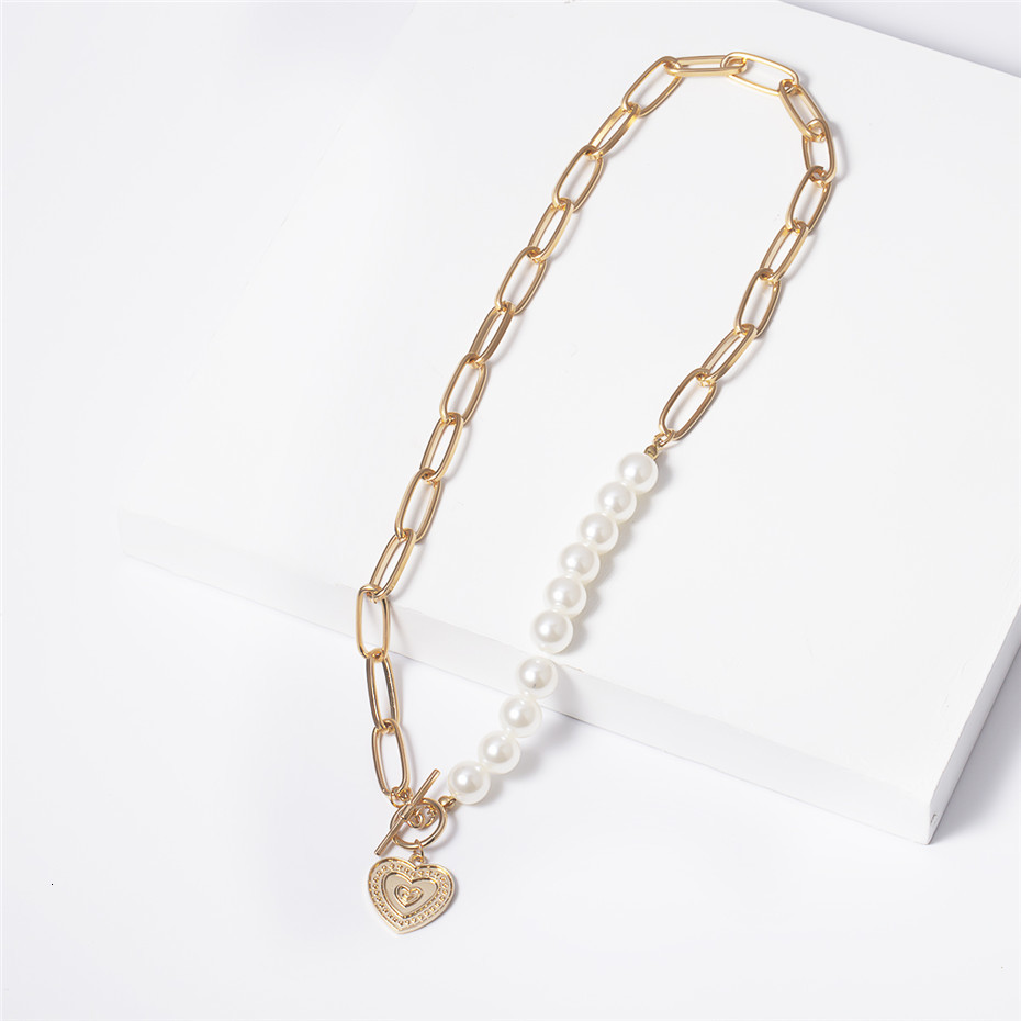 IngeSight.Z Punk Imitation Pearl Choker Necklace Collar Statement Golden Love Heart Lasso Pendant Necklaces for Women Jewelry 10