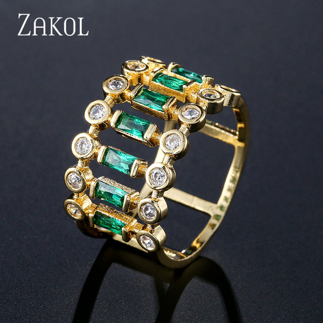 ZAKOL Eternity Tennis Luxury Stackable Chic Rings For Women Wedding Cubic Zircon Engagement Dubai Bridal Statement Finger Rings