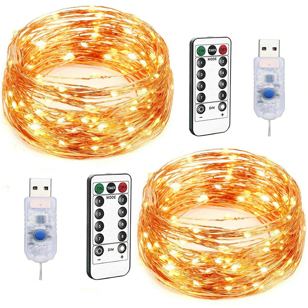 2M//5M//10M 50//100LEDs Battery Operated Mini LED Copper Wire String Fairy Lights