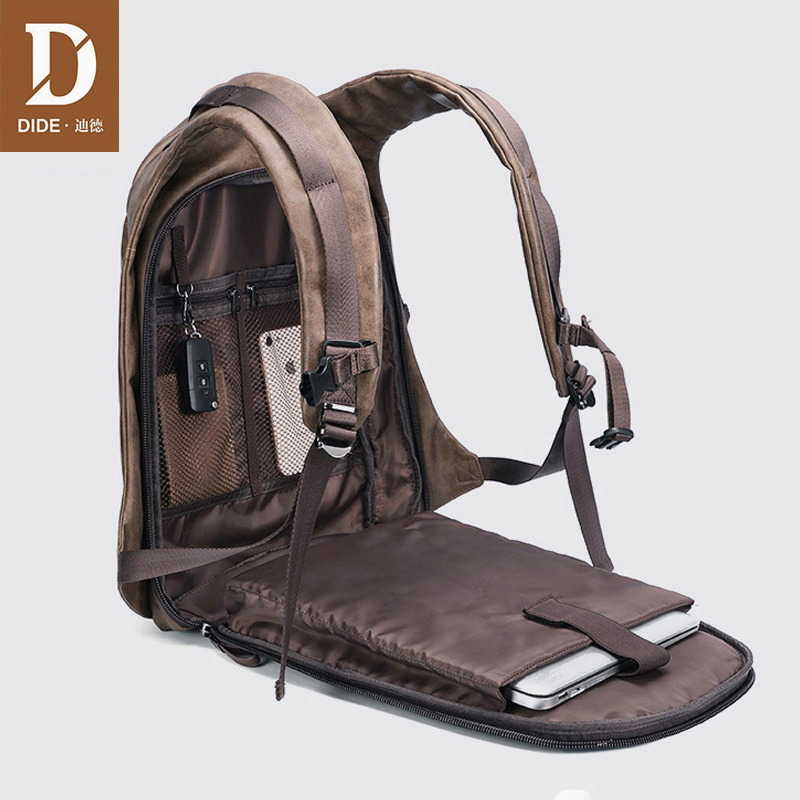 DIDE USB Charge Backpack Men Travel 15.6 Laptop Backpack Black 14/15 Inch Leather School Bag Male Vintage Masculina Small/Large