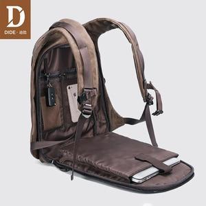DIDE USB заряд рюкзак Для мужчин Путешествия 15,6 ноутбука Рюкзаки черный 14/15 дюймов кожаный мешок школы Мужской Винтаж Masculina небольшой/большого ...