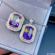 KJJEAXCMY fine jewelry 925 sterling silver inlaid Ametrine female suit ring pendant Gradient two sets luxury