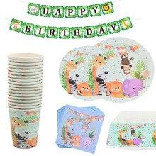 Safari Party Cartoon Animal Wegwerp Servies Papier Cup Plaat Tafelkleed Kids Verjaardagsfeestje Decoratie Jungle Feestartikelen