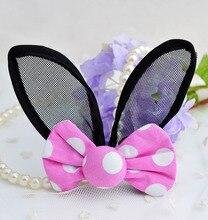 2019 New Arrival Summer Hairpin For Girls Fashion Rabbit Ears Hair Clip Dot Print Fabrics Knot Barrettes Headwear For Kid 2 PCS colorful dot rabbit print tee