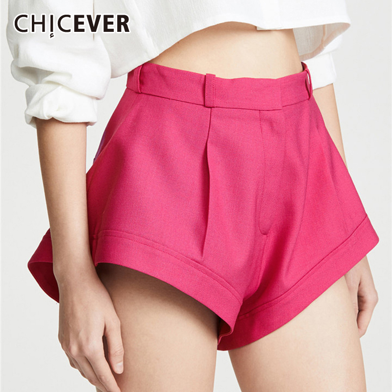 CHICEVER Casual Women Shorts High Waist Sexy Beach Style Short Pants Female Summer Fashion 2020 Large Size Tide
