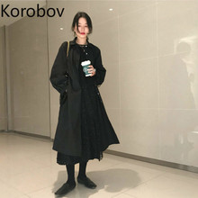 Korobov Korean Chic Retro French Single Breast Black Trench