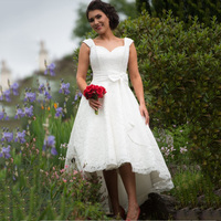 Hi Low Tea Length Wedding Dress Custom Made Lace Fabric High Quality Short Bridal Gown With Bow Sahes