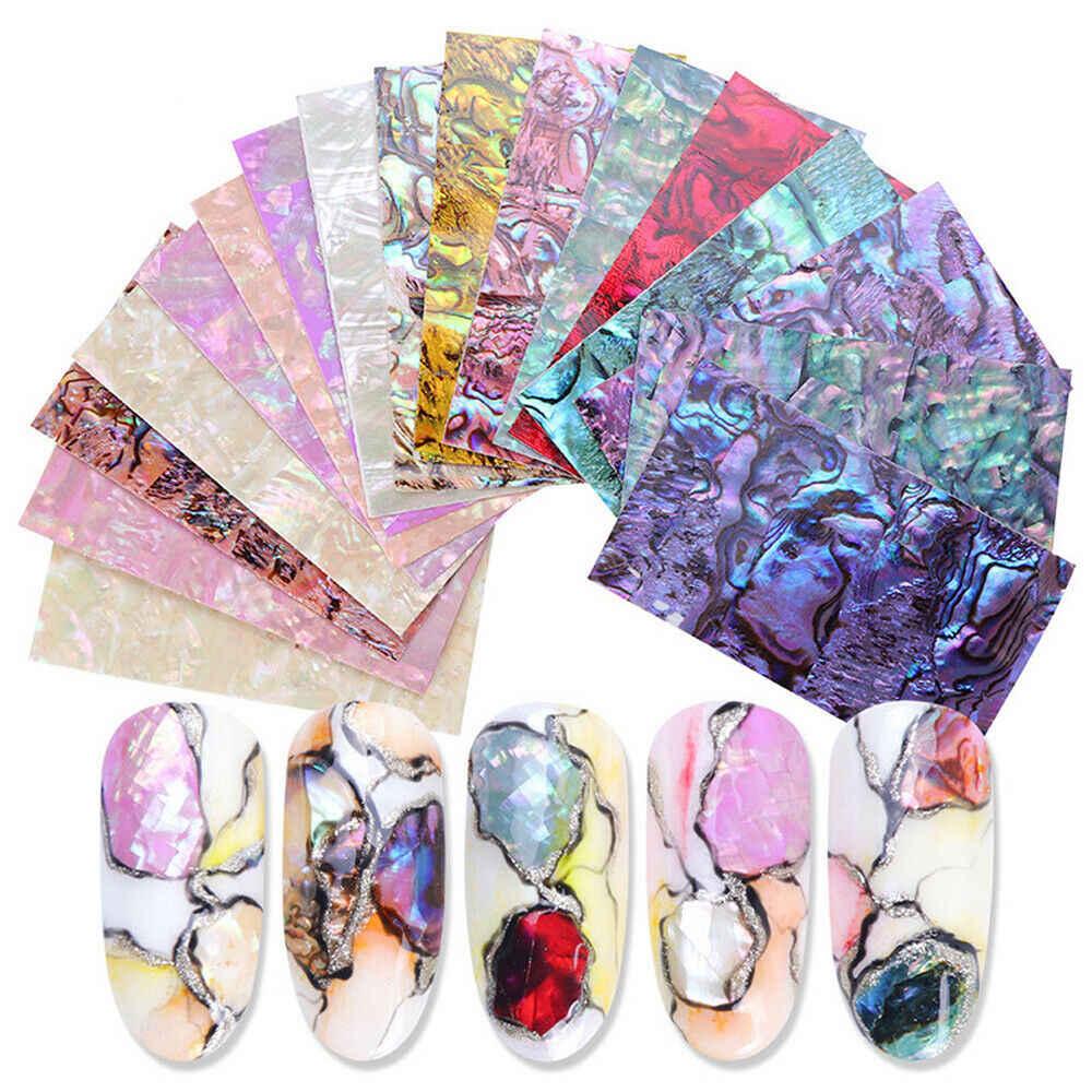 1pcs Borsette Fiocchi di Unghie artistiche Sticker Gradiente Sirena Stagnola Del Chiodo di Disegno Decalcomanie Decorazioni Adesivo Olografico Adesivi di Trasferimento