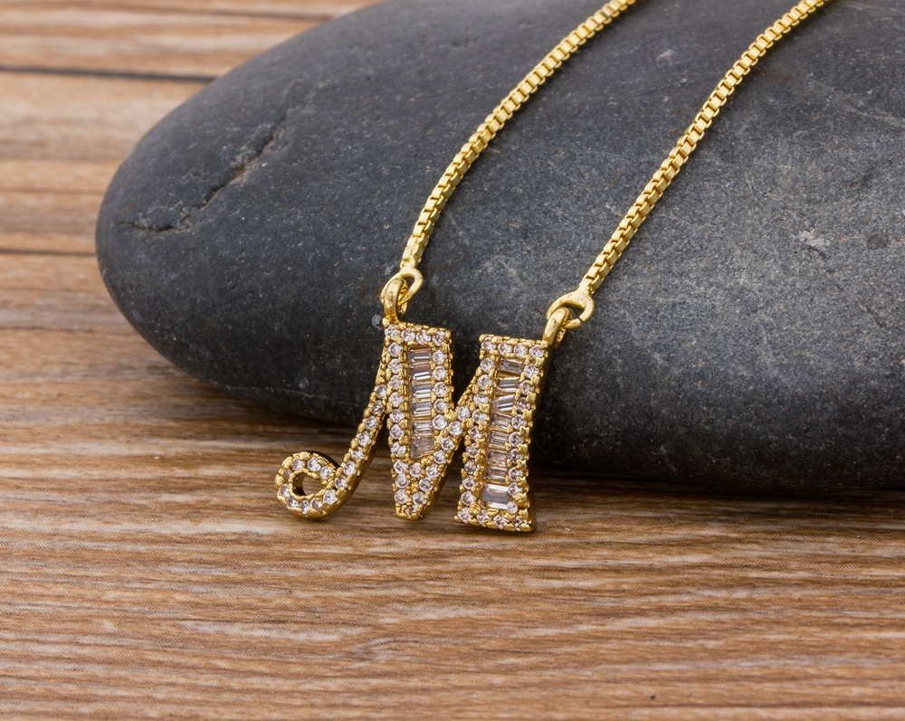 Luxury Gold Color A-Z 26 Letters Necklace CZ Pendant for Women Cute  Initials Name Necklace Fashion Party Wedding Jewelry Gift