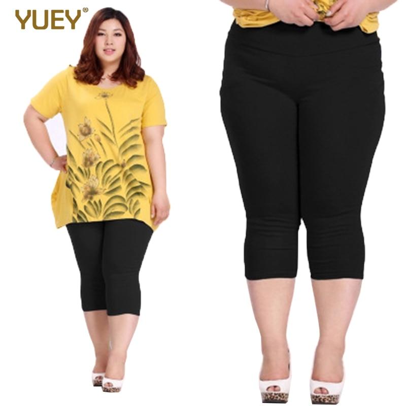 Good Quality Extra Large Size Women Capris Pants Super Stretch Summer Candy Color Plus Size Female Elastic Pants Calf Length 6XL