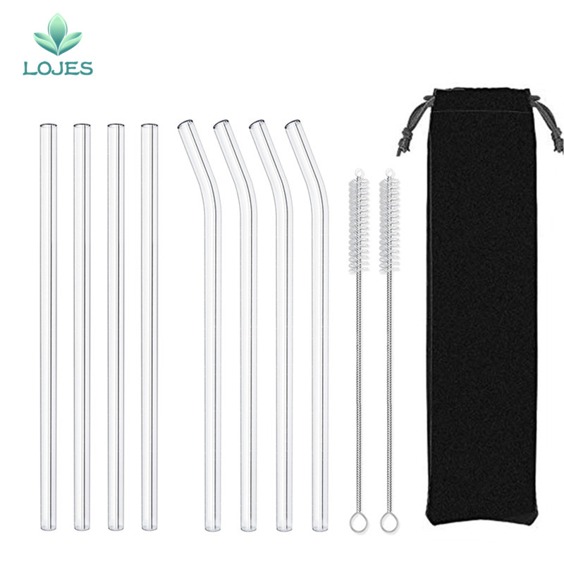4Pcs Glass Straws Reusable Drinking Glass Tube Eco friendly With Cleaning Brush Events Party Favors Supplies Drinking Straws     - title=