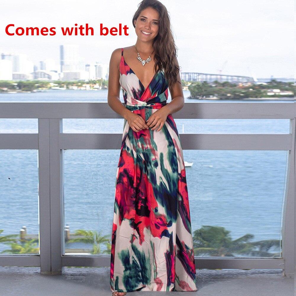 Ladies Print Floral Long Boho Bohemian Beach Summer Dress Women Sundress Sexy V-Neck Sleeveless Strap Maxi Vintage Dress Vestido 14
