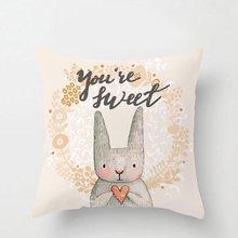 Cartoon Animals Linen 45*45 cm Square Cushion Cover for Sofa Home Decorative Printed Throw Pillowcase Pillow Case cartoon christmas square cushion throw pillow case
