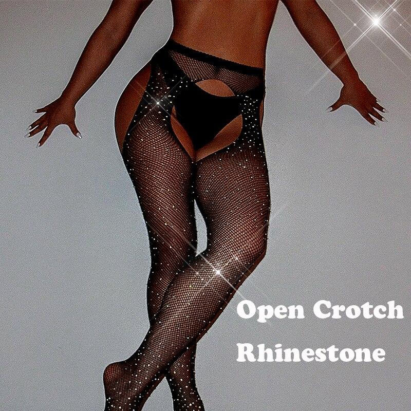 Sexy Stockings Open Crotch Women Tights Fishnet Stockings Rhinestone Shiny Antyhose Medias Collant Femme Lenceria Lingerie SW071