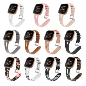 Image 1 - Printing leather Watch band For Fitbit Versa 2 Smart Watch Pattern Bracelet Band for fitbit versa / versa lite correa