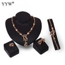 New Brand Exaggerated Elegant Heart Choker Trendy Shape Necklace Bracelet Earring Ring Set Party Jewelry Sets For Girl