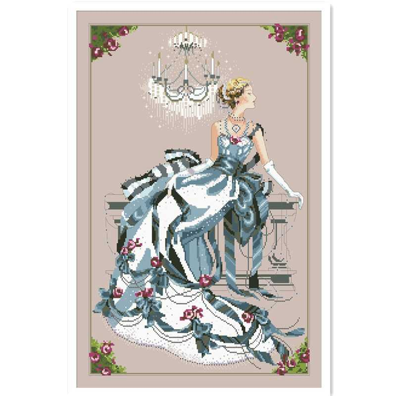 Crystal Symphony fairy cross stitch kit people design cotton silk thread 14ct 11ct linen flaxen canvas embroidery DIY needlework