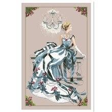 Cross-Stitch-Kit Canvas Embroidery Thread Fairy Needlework People-Design 14ct Cotton