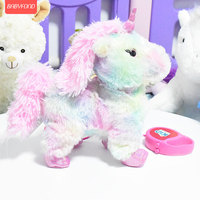 Children's electric plush toy unicorn can sing and walk electronic machine color unicorn with remote control