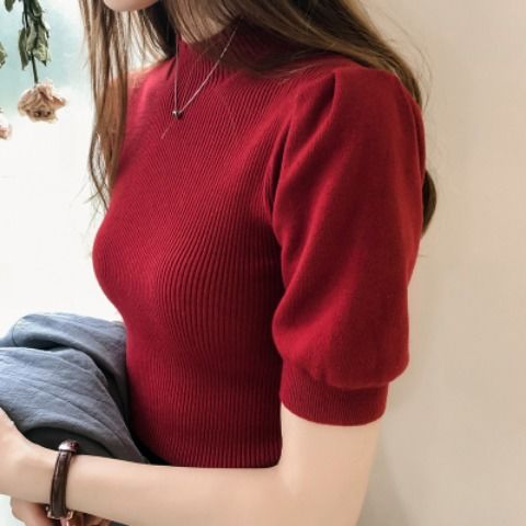 Half Turtleneck Knitted T-shirts Tops Woman Slim Short Puff Sleeve Buttons Soft Solid Autumn T-shirt Tee Female 5
