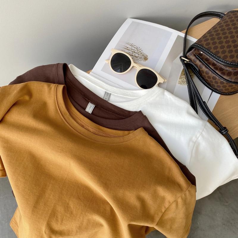 Mooirue-Camiseta básica de algodón para mujer, ropa de manga corta, marrón, naranja, básica, para primavera