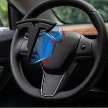 3pcs set Matte Black for Tesla Model 3 Model S X Auto Logos Steering wheel patch decoration Modified accessories Tail box logo