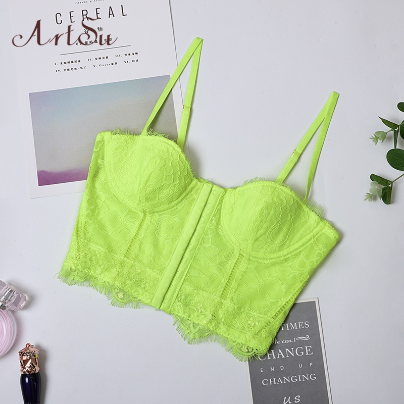 ArtSu Neon Yellow Pink Sexy Lace Floral Push Up Crop Top Bustier Spaghetti Straps Bralette Tank Top Bodycon Cropped ASVE60606